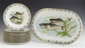 Thirteen Piece Limoges Porcelain Fish Set, early 20th