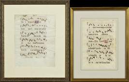 Two Vellum Antiphonal Manuscript Music Leaves