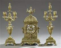 Three Piece Bronze Louis XV Style Clock Set 19th c