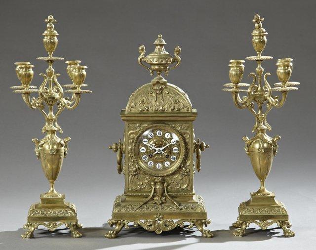 Three Piece Bronze Louis XV Style Clock Set, 19th c.,