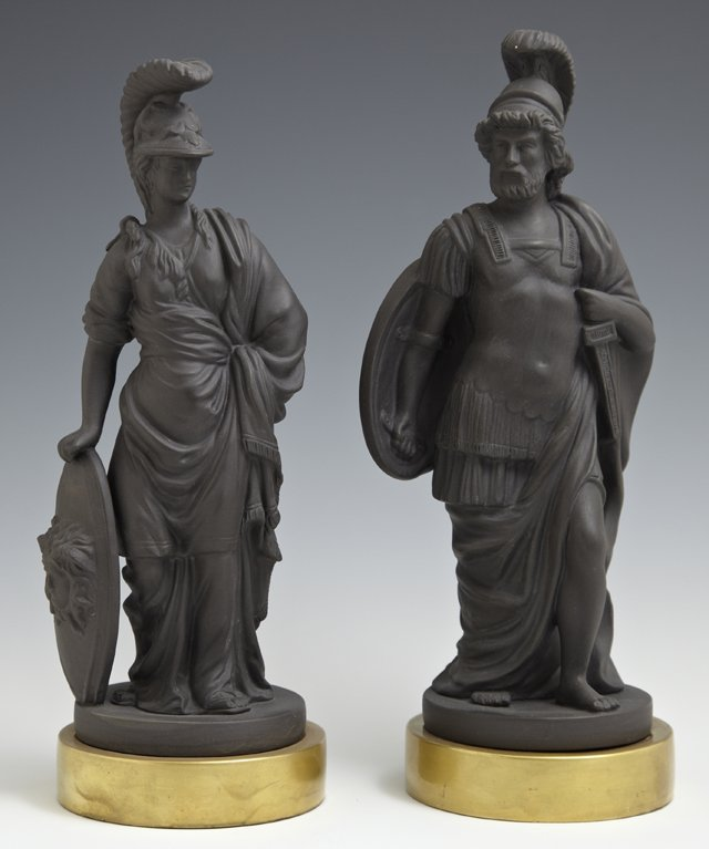 Pair of Black Basalt Porcelain Figures, 20th c., of