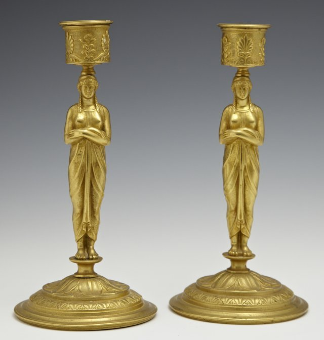 Pair of French Empire Style Gilt Bronze Candlesticks,