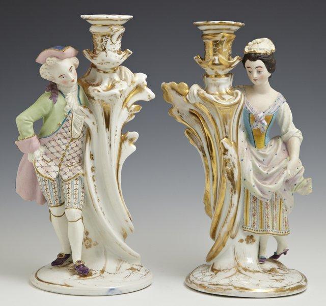 Pair of Franco-Bohemian Porcelain Figural Candlesticks,