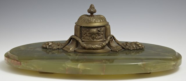 Bronze and Green Onyx Inkwell, late 19th c., the