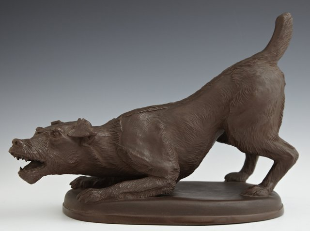 Meissen Bottger Steinzeug Earthenware Dog, 20th c.,