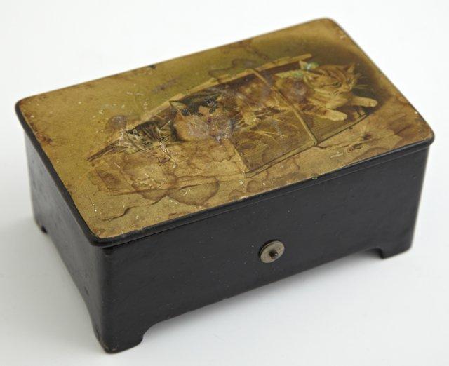 Diminutive Papier-Mâché Cylinder Music Box, c. 1900,