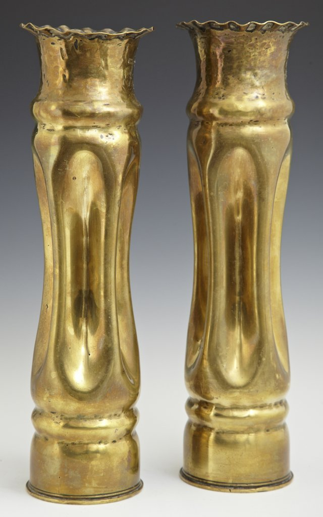 Two Pairs of Brass Trench Art Vases, c. 1918, one with