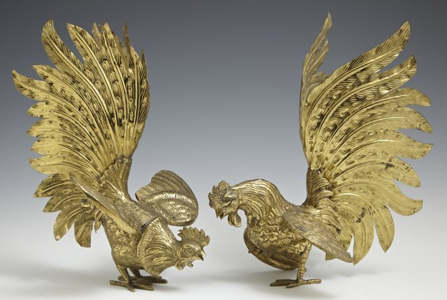 Pair of Brass Rooster Table Decorations, 20th c., H.- 9
