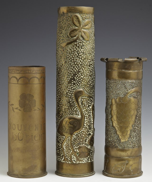 Group of Three Trench Art Brass Vases, c. 1917,