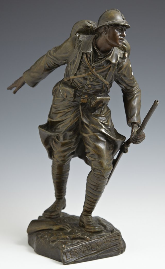 """Coffin, """"Le Voila,"""" c. 1900, patinated spelter soldier,"""