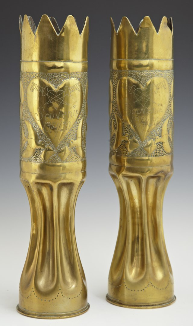Two Pairs of Brass Trench Art Vases, one c. 1920, with