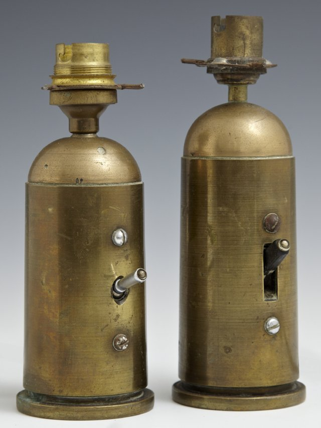 Pair of Brass Trench Art Lamps, c. 1918, constructed of