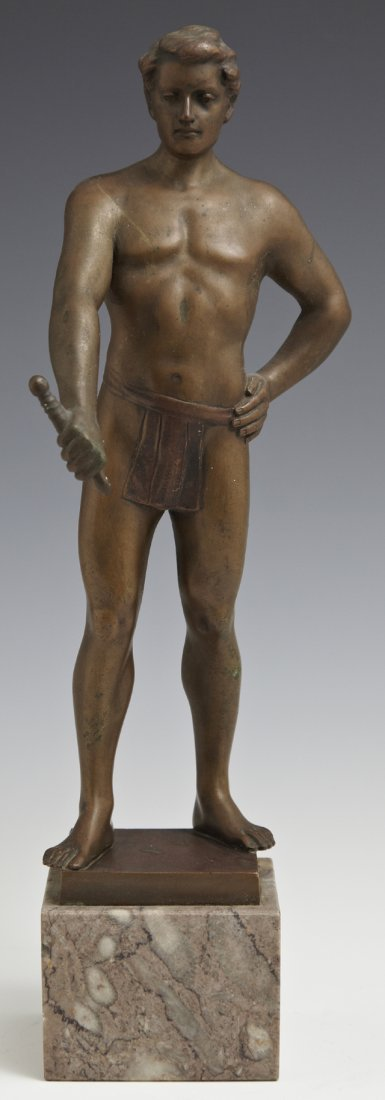 """Hans Keck, """"Youth with Sword,"""" early 20th c., patinated"""