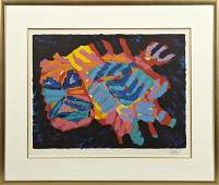 """Karel Appel (1921-2006), """"Abstract,"""" colored"""