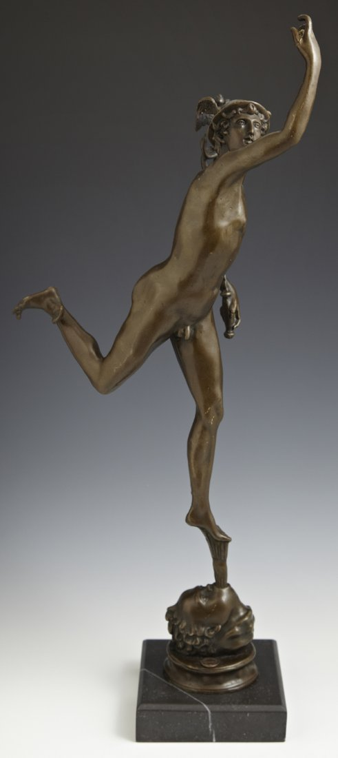 Patinated Bronze Figure of Mercury, 20th c., by