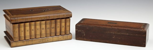 Group of Two Boxes, consisting of an inlaid mahogany