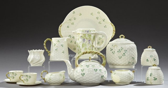Group of Fourteen Pieces of Belleek, consisting of a