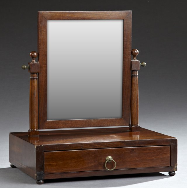 Carved Mahogany Dressing Mirror, 19th c., the