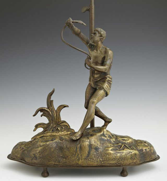 Gilt Spelter Figural Table Lamp, c. 1900, of a man