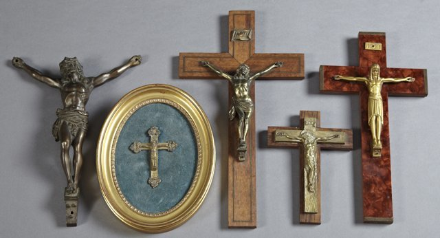 Group of Five Crucifixes, early 20th c., consisting of