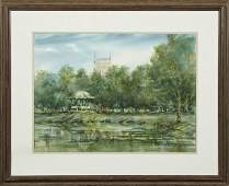 """Peter Briant (New Orleans), """"View of Holy Rosary Church"""