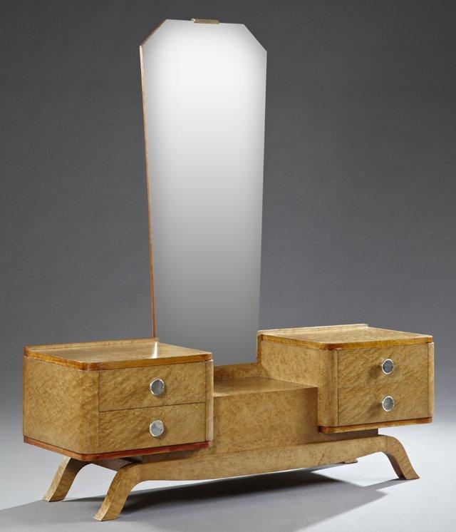 Art Deco Burled Elm Dressing Table, c. 1912, the