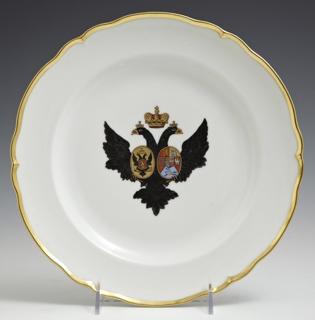 Russian Imperial Porcelain Plate, late 19th c., with a