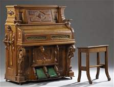 Eastlake Style Miller Co. Carved Walnut Pump Organ, c.