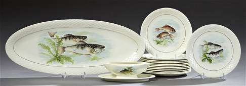 Fourteen Piece Ceramic Fish Set 20th c by Gien