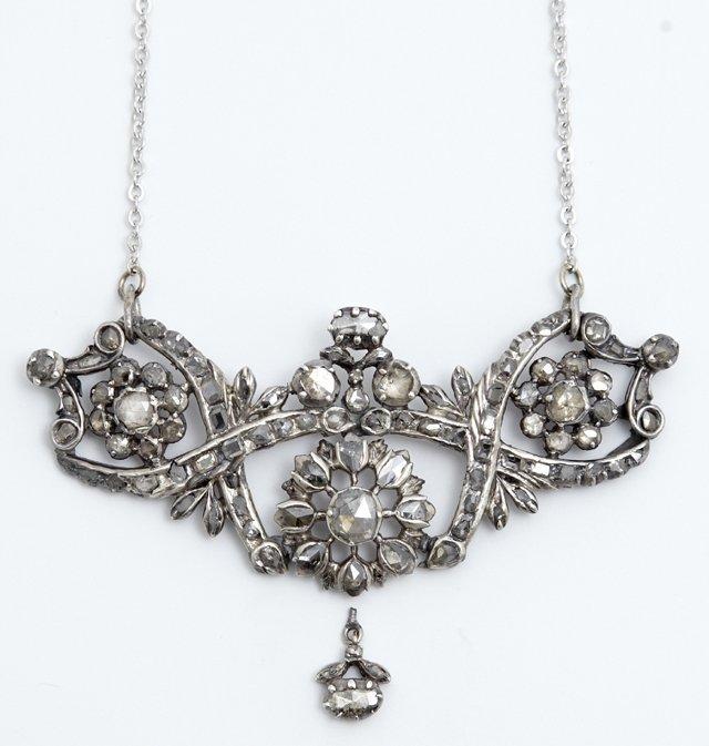 Antique Victorian Pierced Floriform Silver Lavalier, c.