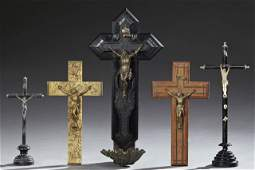 Group of Five French Crucifixes, early 20th c., two