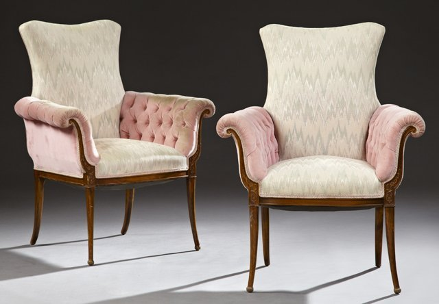 Pair of Regency Style Carved Birch Tufted Bergeres,