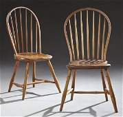 Near Pair of Bow-Back Windsor Style Carved Cherry and