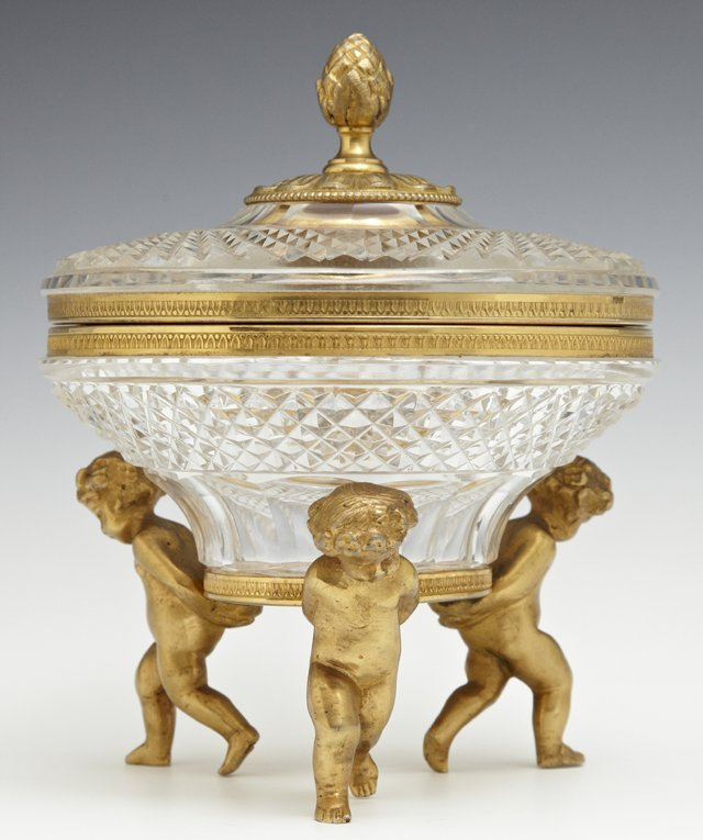 Bronze and Crystal Covered Sweetmeats Dish, 20th c.,