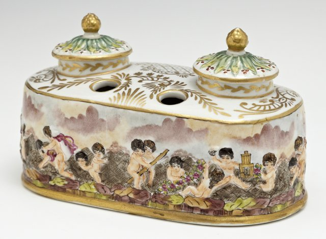 Capodimonte Porcelain Double Inkwell, 20th c., with