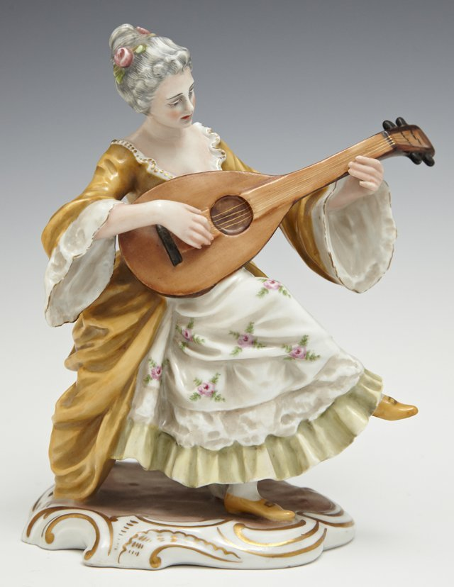 Polychromed Capodimonte Figure, 20th c., of a woman