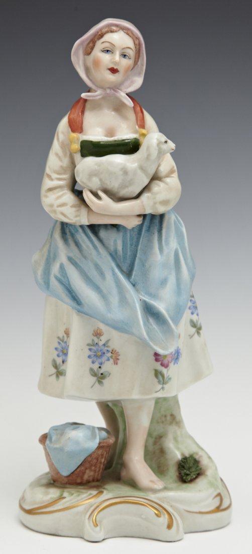 German Polychromed Porcelain Figure, 20th c., of a