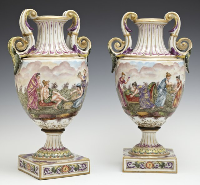 Pair of Porcelain Capodimonte Style Handled Urns, 20th