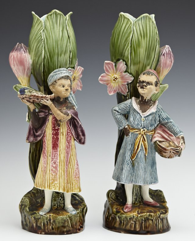 Pair of Majolica Figural Spill Vases, 19th c., the