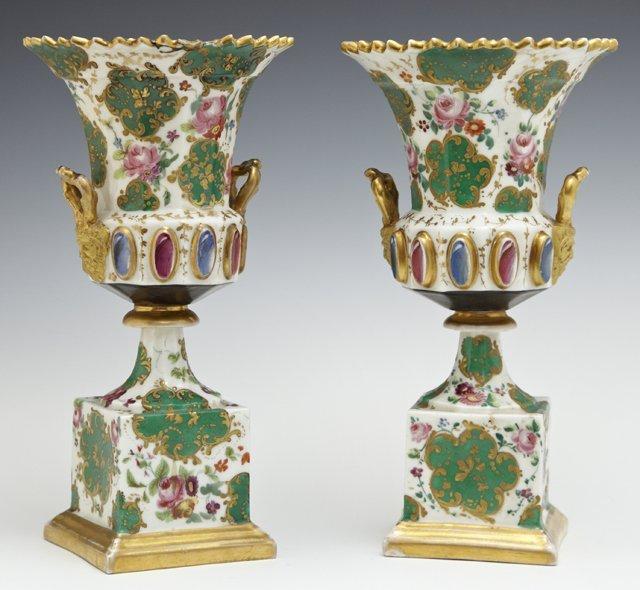 Pair of Diminutive Old Paris Campana Form Urns, c.