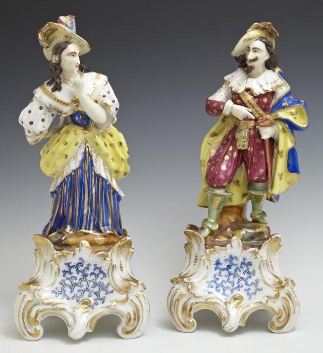 Pair of Polychromed Old Paris Porcelain Room Scenters,