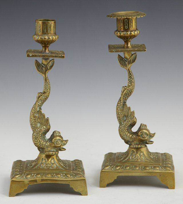 Pair of Bronze Dolphin Form Candlesticks, 19th c., on