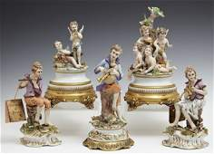 Group of Five Polychromed Capodimonte Porcelain