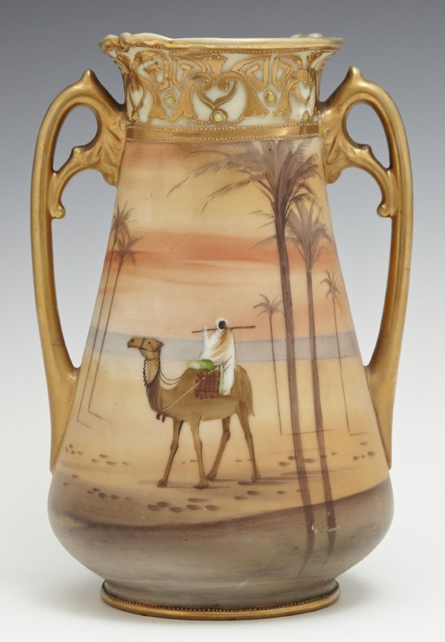 Nippon Handled Vase, 20th c., of tapered form with gilt