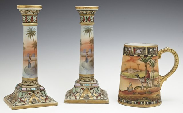 Three Pieces of Nippon Porcelain, 20th c., consisting