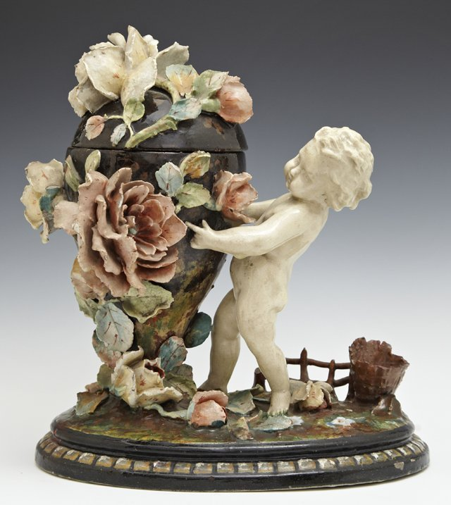 Unusual Majolica Covered Jar, 19th c., encrusted with