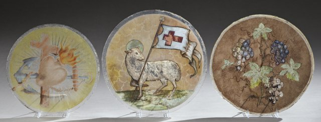 Group of Three Painted Glass Panels, 19th c., from
