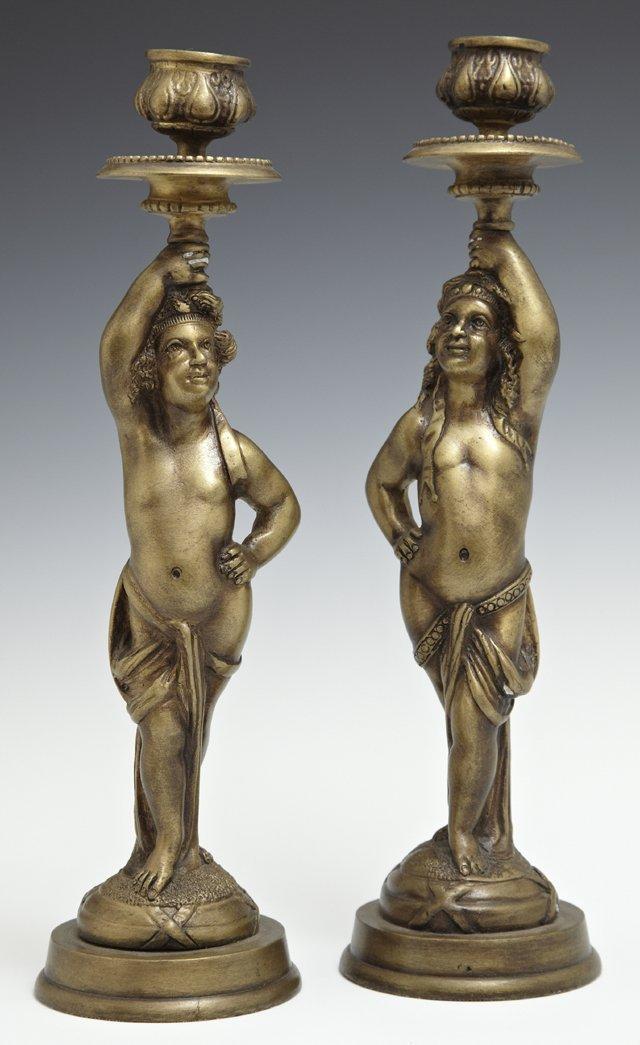 Pair of Bronze Putti Single Candlesticks, 20th c.,