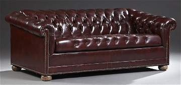 English Style Tufted Leather Chesterfield Sleeper Sofa