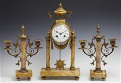 French Louis XV Style Three Piece Ochre Marble and